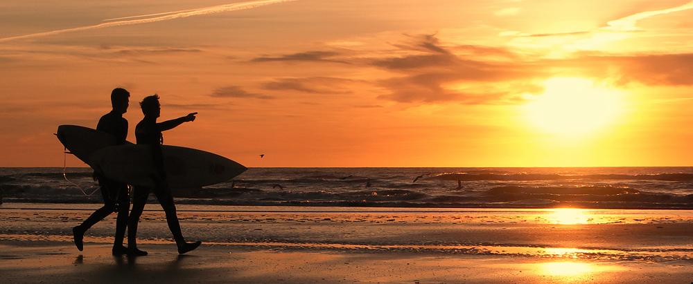 Surfers at Rømø Sunset